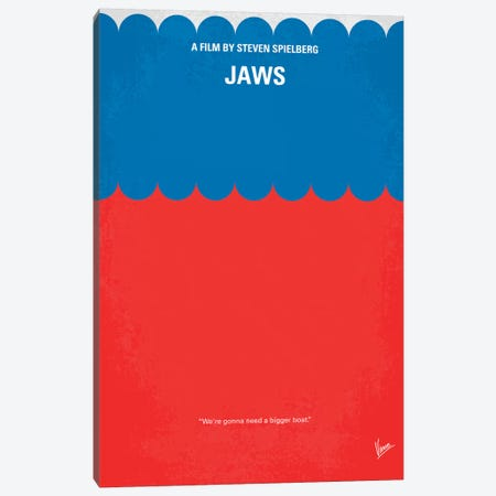 Jaws Minimal Movie Poster Canvas Print #CKG60} by Chungkong Canvas Print