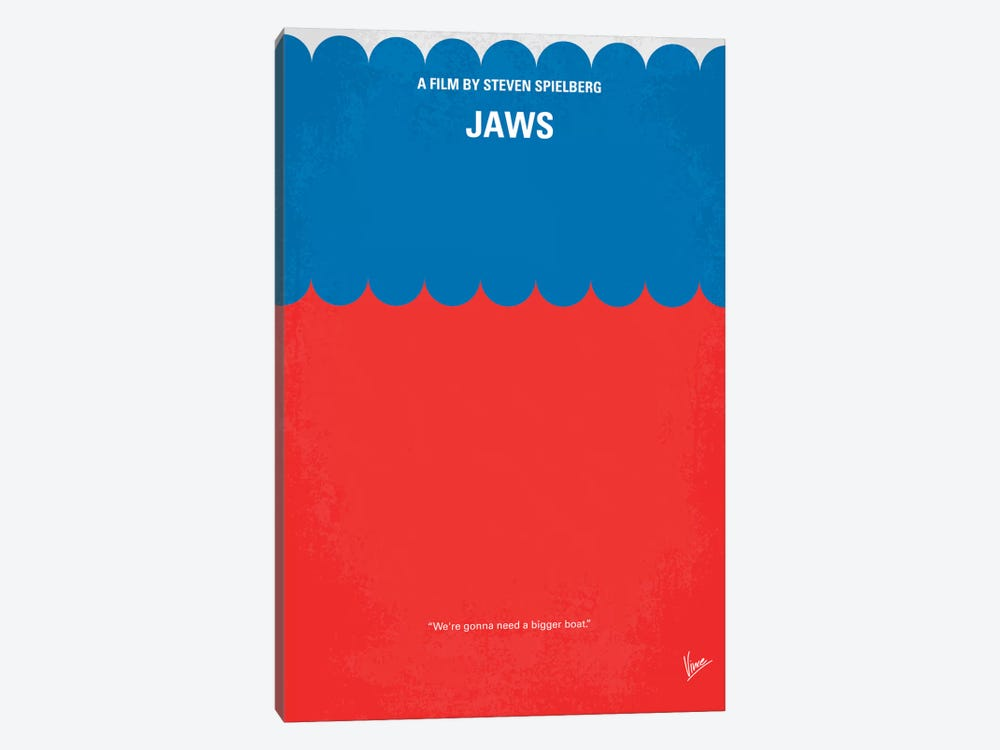 Jaws Minimal Movie Poster by Chungkong 1-piece Canvas Art Print