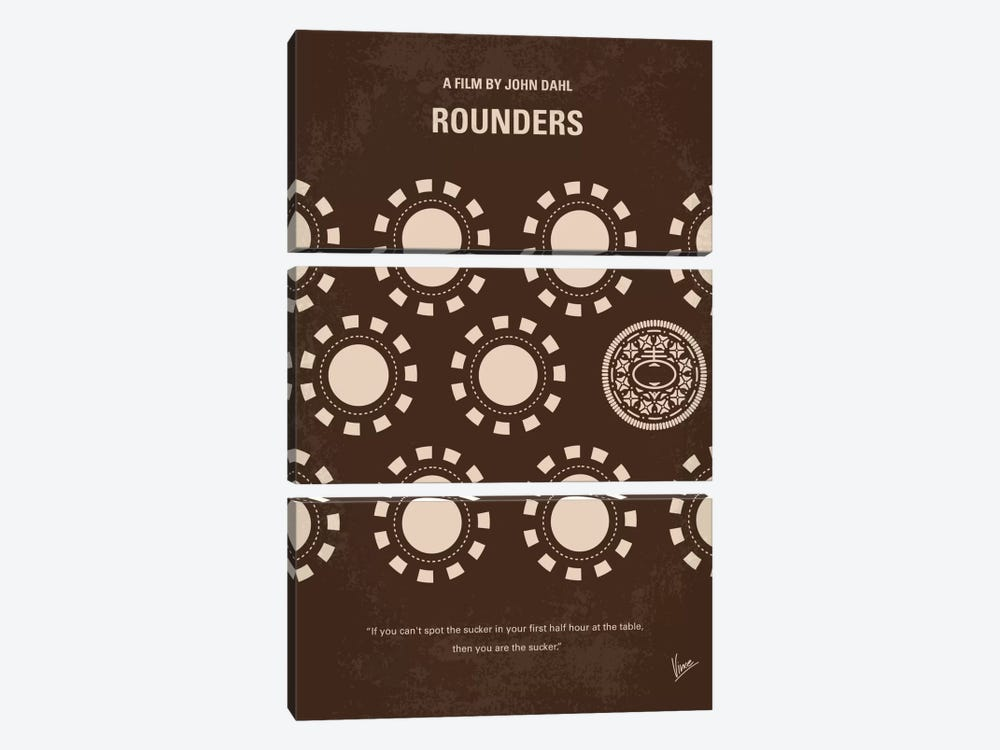 Rounders Minimal Movie Poster by Chungkong 3-piece Canvas Art Print