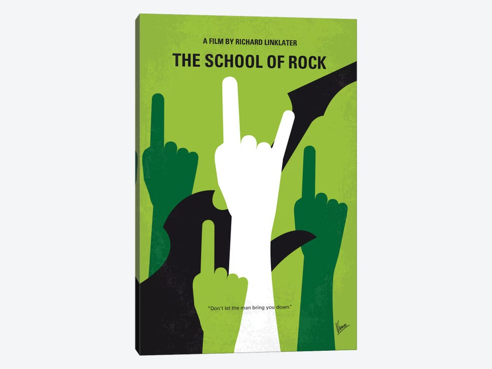 School Of Rock Minimal Movie Poster by Chungkong 1-piece Canvas Wall Art