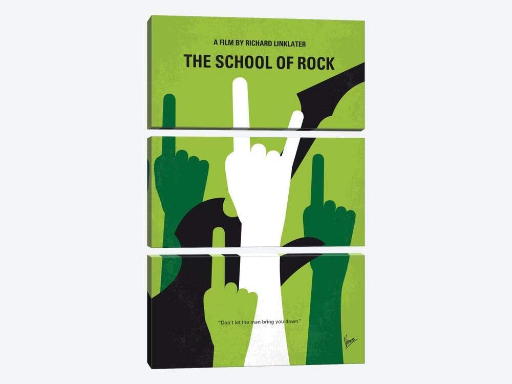School Of Rock Minimal Movie Poster by Chungkong 3-piece Canvas Art