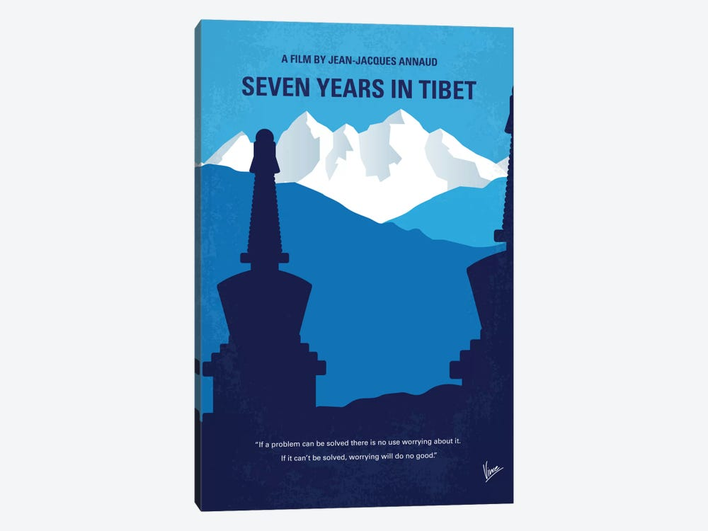 Seven Years In Tibet Minimal Movie Poster by Chungkong 1-piece Canvas Print