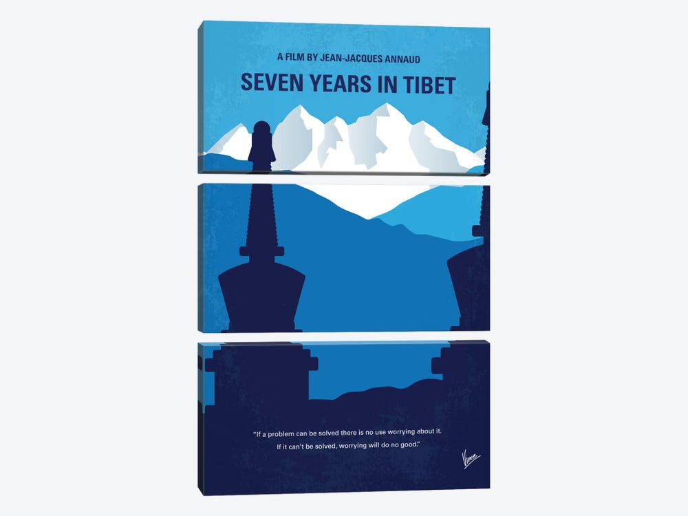 Seven Years In Tibet Minimal Movie Poster by Chungkong 3-piece Canvas Print