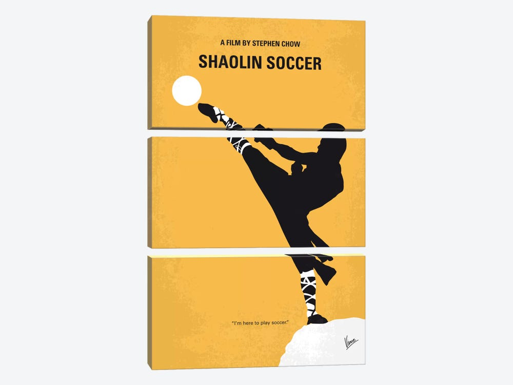 Shaolin Soccer Minimal Movie Poster by Chungkong 3-piece Canvas Wall Art