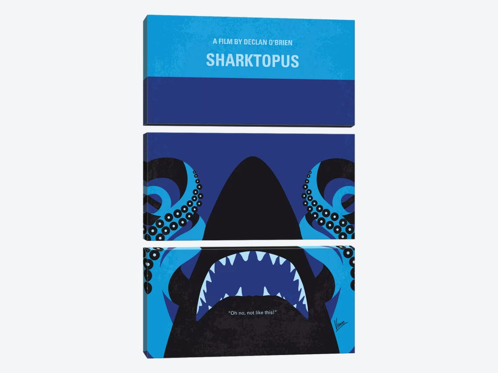 Sharktopus Minimal Movie Poster by Chungkong 3-piece Canvas Print