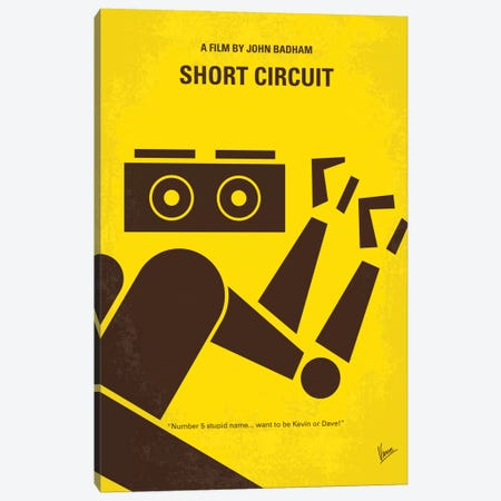 Short Circuit Minimal Movie Poster Canvas Print #CKG617} by Chungkong Art Print