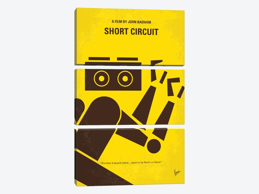 Short Circuit Minimal Movie Poster by Chungkong 3-piece Canvas Print