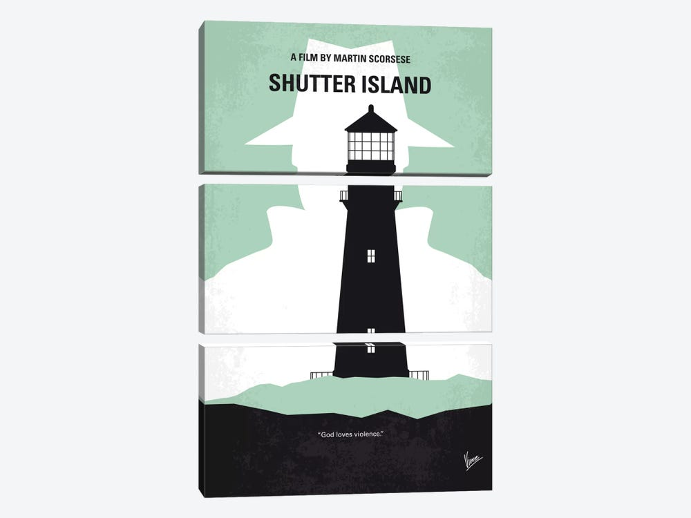 Shutter Island Minimal Movie Poster by Chungkong 3-piece Canvas Art Print