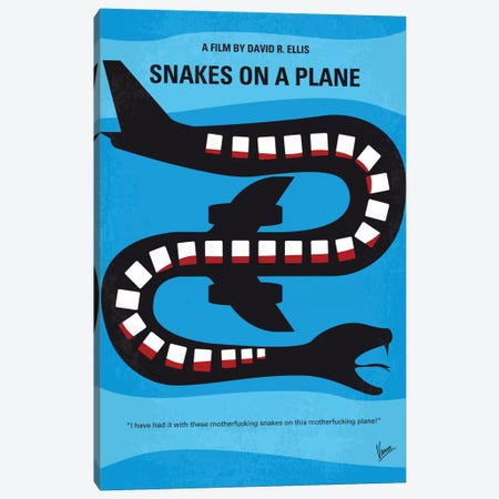 Snakes On A Plane Minimal Movie Poster Canvas Print #CKG620} by Chungkong Canvas Print