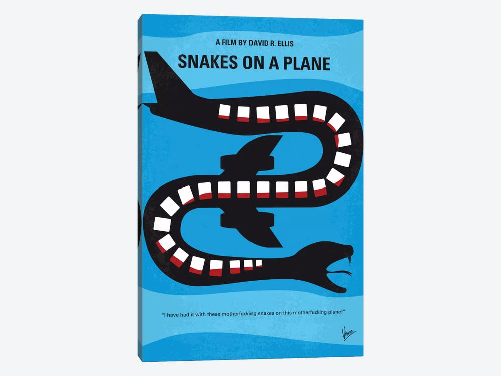 Snakes On A Plane Minimal Movie Poster by Chungkong 1-piece Canvas Art Print
