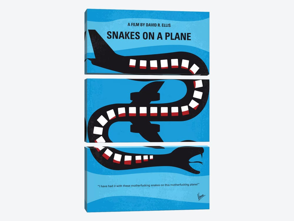 Snakes On A Plane Minimal Movie Poster by Chungkong 3-piece Art Print
