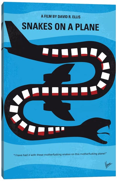 Snakes On A Plane Minimal Movie Poster Canvas Art Print