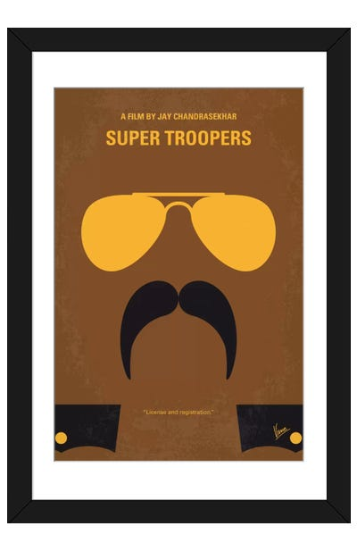 super troopers minimal movie poster framed art print - Movie Posters Framed