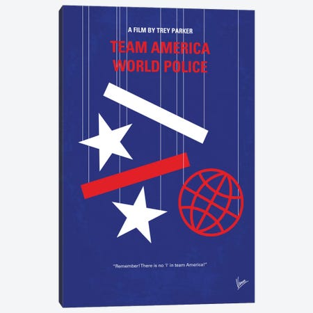 Team America: World Police Minimal Movie Poster Canvas Print #CKG634} by Chungkong Art Print
