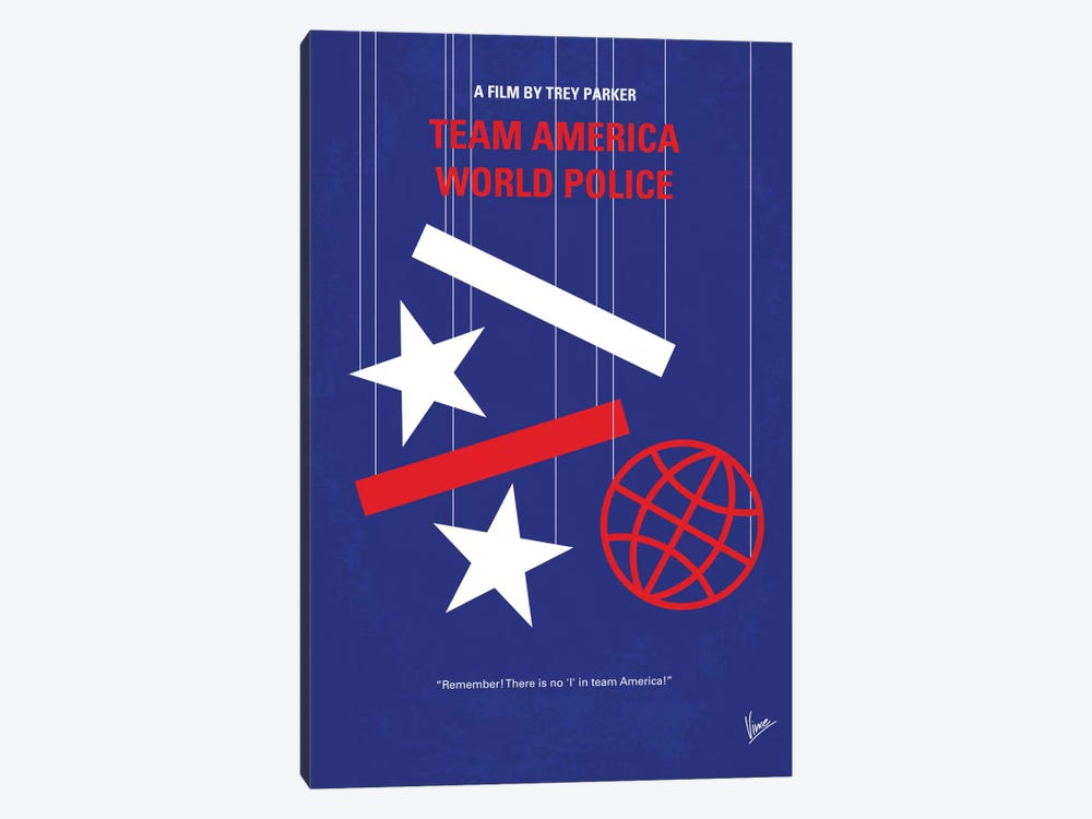 Team America: World Police Minimal Movie Poster by Chungkong 1-piece Canvas Artwork