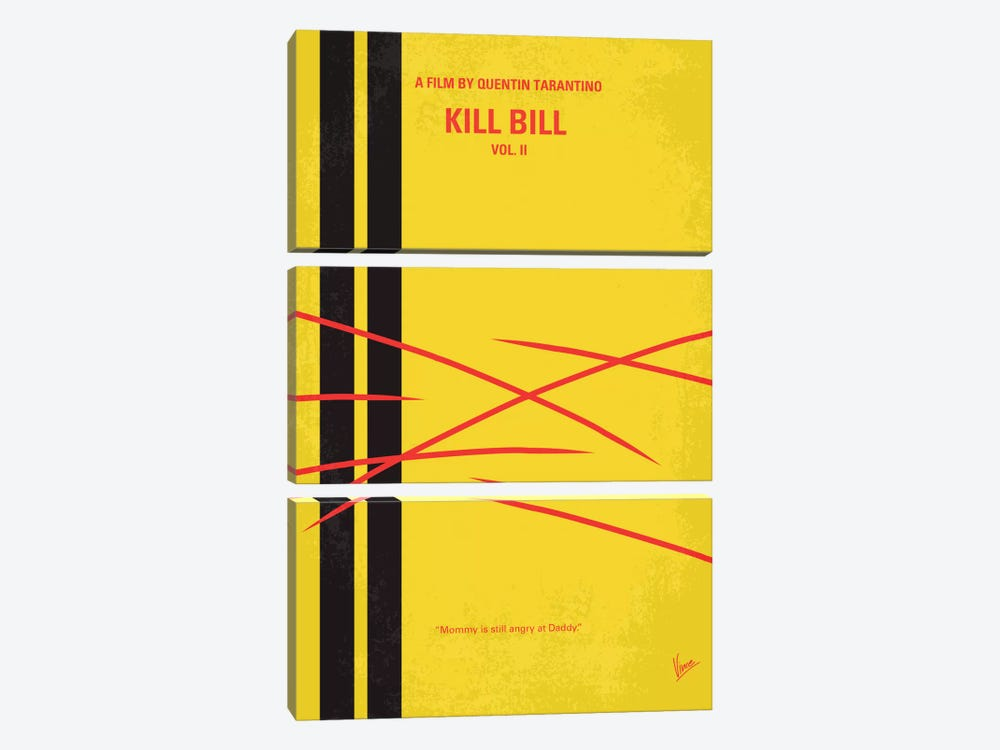 Kill Bill Vol. 2 Minimal Movie Poster by Chungkong 3-piece Canvas Art