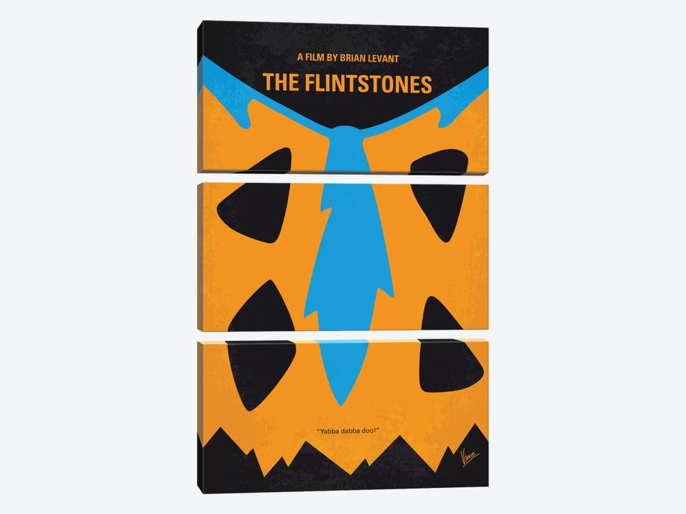 The Flintstones Minimal Movie Poster by Chungkong 3-piece Canvas Wall Art