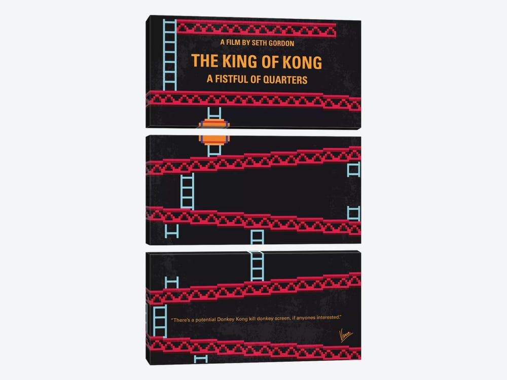 The King Of Kong: A Fistful Of Quarters Minimal Movie Poster by Chungkong 3-piece Canvas Art
