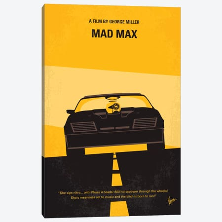 Mad Max Minimal Movie Poster Canvas Print #CKG65} by Chungkong Canvas Artwork