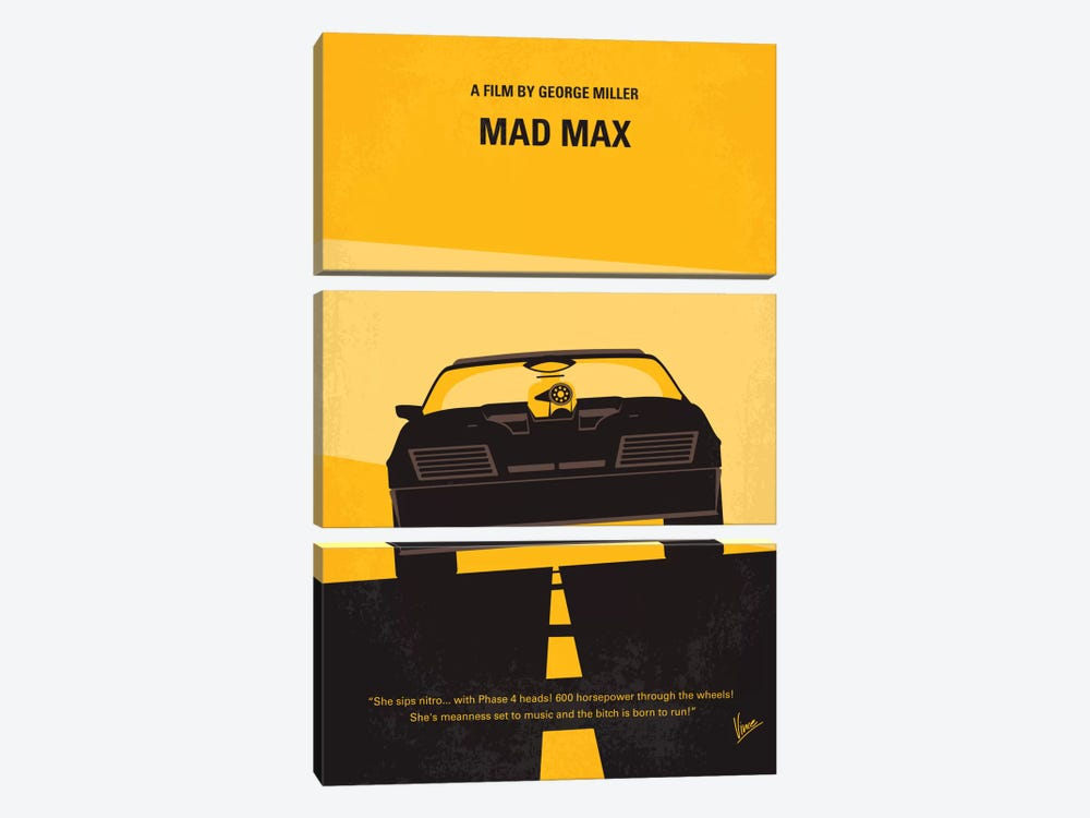 Mad Max Minimal Movie Poster by Chungkong 3-piece Canvas Artwork