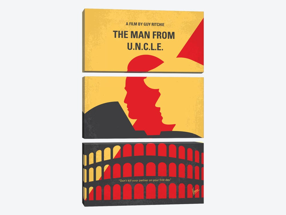The Man From U.N.C.L.E. Minimal Movie Poster by Chungkong 3-piece Canvas Art Print