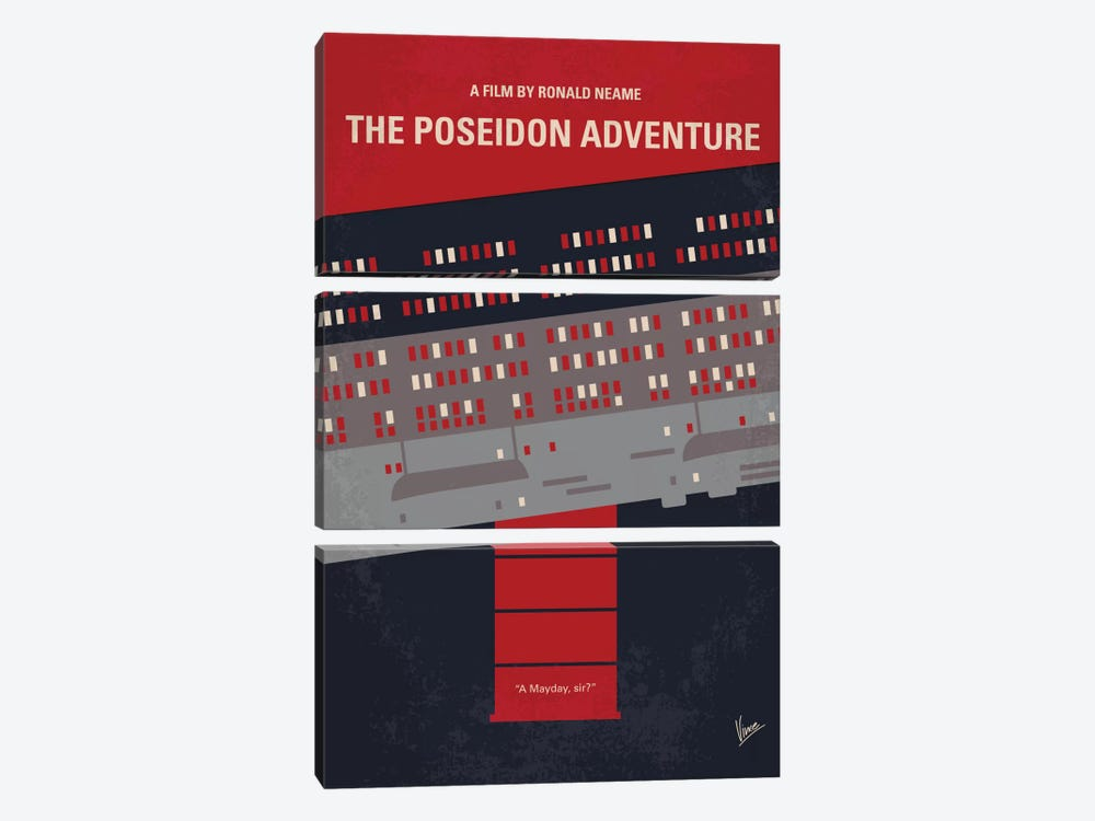 The Poseidon Adventure Minimal Movie Poster by Chungkong 3-piece Canvas Artwork