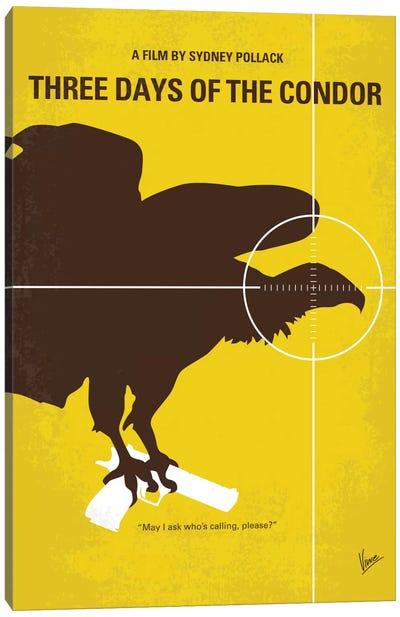 Three Days Of The Condor Minimal Movie Poster Canvas Art Print