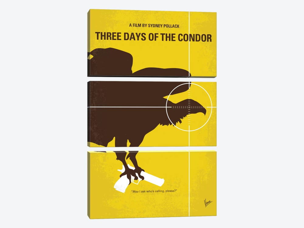 Three Days Of The Condor Minimal Movie Poster by Chungkong 3-piece Canvas Art Print