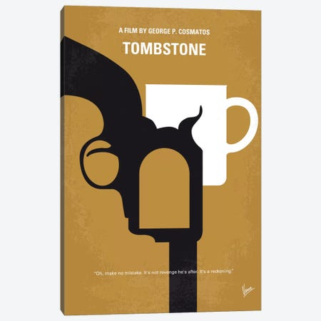 Tombstone Minimal Movie Poster Canvas Print #CKG680} by Chungkong Art Print