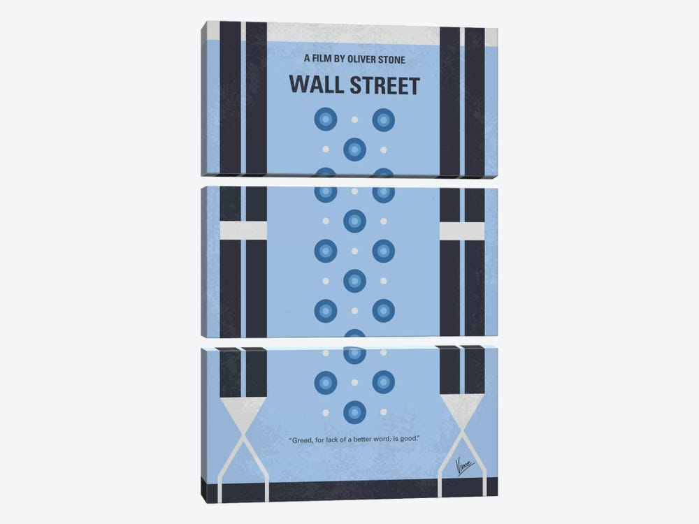 Wall street Minimal Movie Poster by Chungkong 3-piece Canvas Wall Art