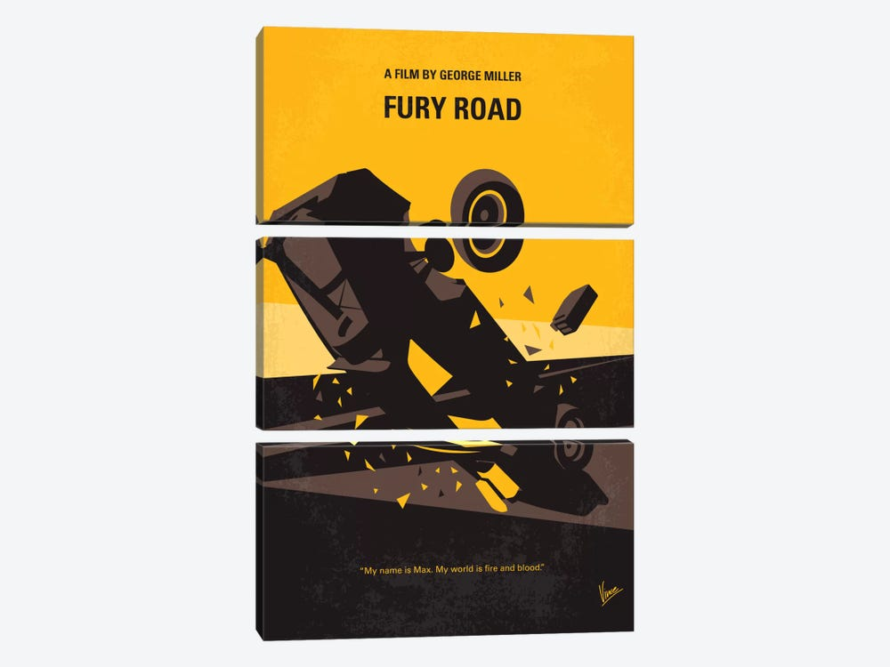 Mad Max: Fury Road Minimal Movie Poster by Chungkong 3-piece Canvas Print