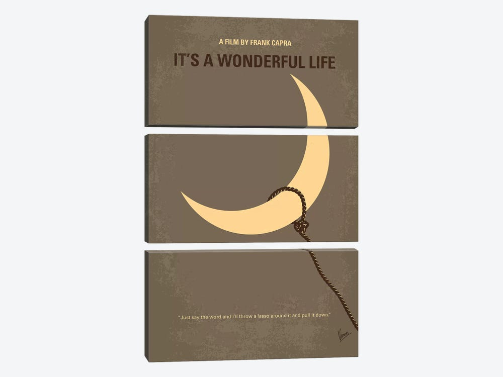 It's A Wonderful Life Minimal Movie Poster by Chungkong 3-piece Canvas Print