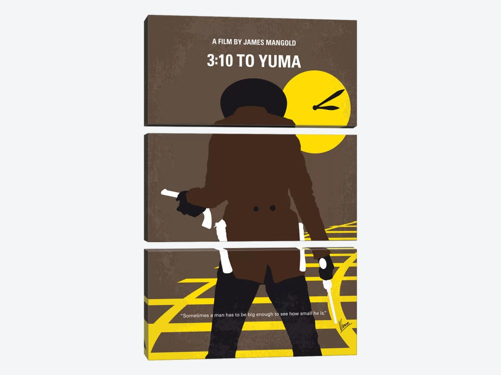 3:10 To Yuma Minimal Movie Poster by Chungkong 3-piece Canvas Art Print