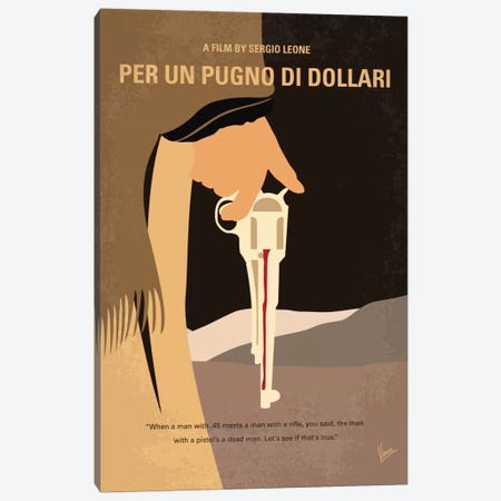 A Fistful Of Dollars Minimal Movie Poster Canvas Print #CKG706} by Chungkong Canvas Print