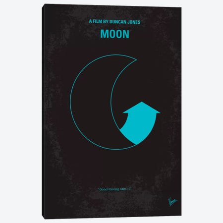 Moon 2009 Minimal Movie Poster Canvas Print #CKG70} by Chungkong Canvas Art