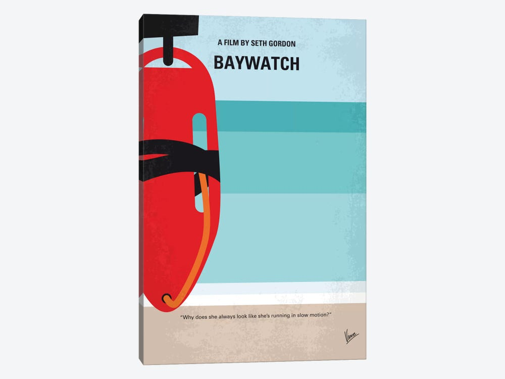 Baywatch Minimal Movie Poster by Chungkong 1-piece Canvas Artwork