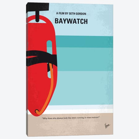 Baywatch Minimal Movie Poster 3-Piece Canvas #CKG711} by Chungkong Canvas Art Print