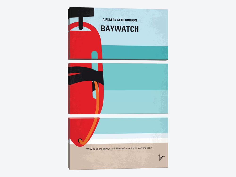 Baywatch Minimal Movie Poster by Chungkong 3-piece Canvas Artwork