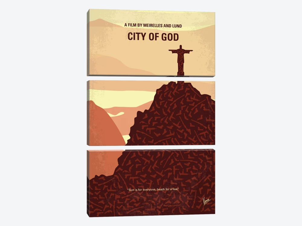 City Of God Minimal Movie Poster by Chungkong 3-piece Canvas Art Print