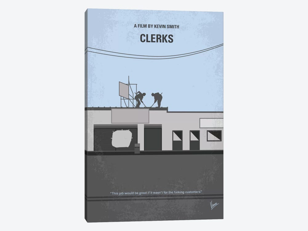 Clerks Minimal Movie Poster by Chungkong 1-piece Canvas Artwork