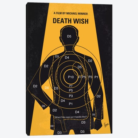 Death Wish Minimal Movie Poster Canvas Print #CKG718} by Chungkong Canvas Art Print