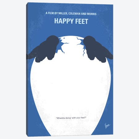 Happy Feet Minimal Movie Poster Canvas Print #CKG722} by Chungkong Canvas Art