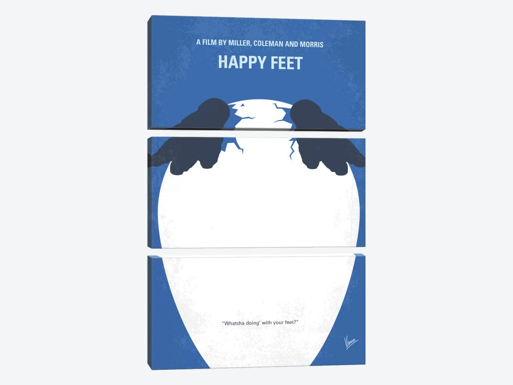 Happy Feet Minimal Movie Poster by Chungkong 3-piece Canvas Wall Art