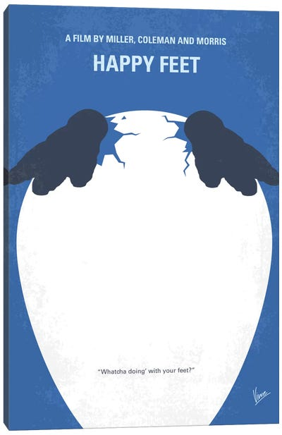 Happy Feet Minimal Movie Poster Canvas Art Print