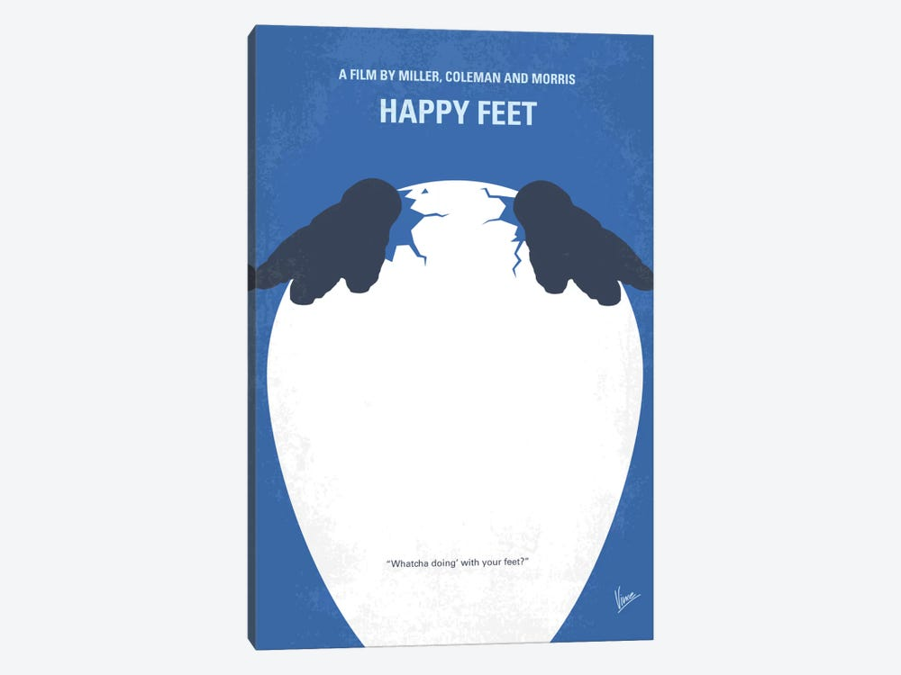 Happy Feet Minimal Movie Poster by Chungkong 1-piece Canvas Artwork