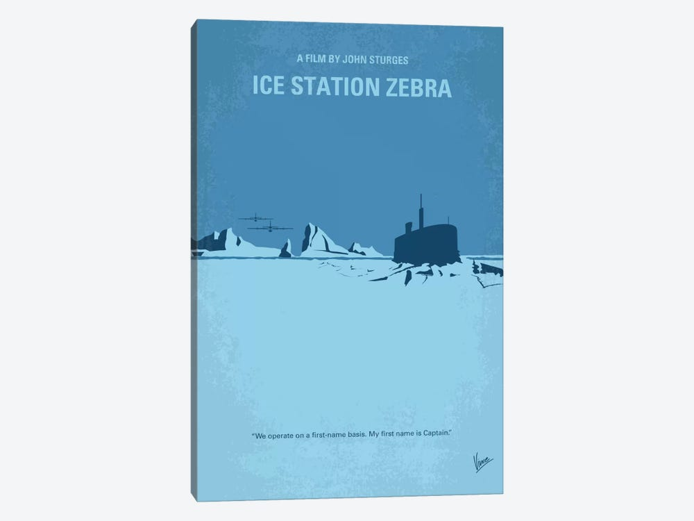 Ice Station Zebra Minimal Movie Poster by Chungkong 1-piece Canvas Wall Art