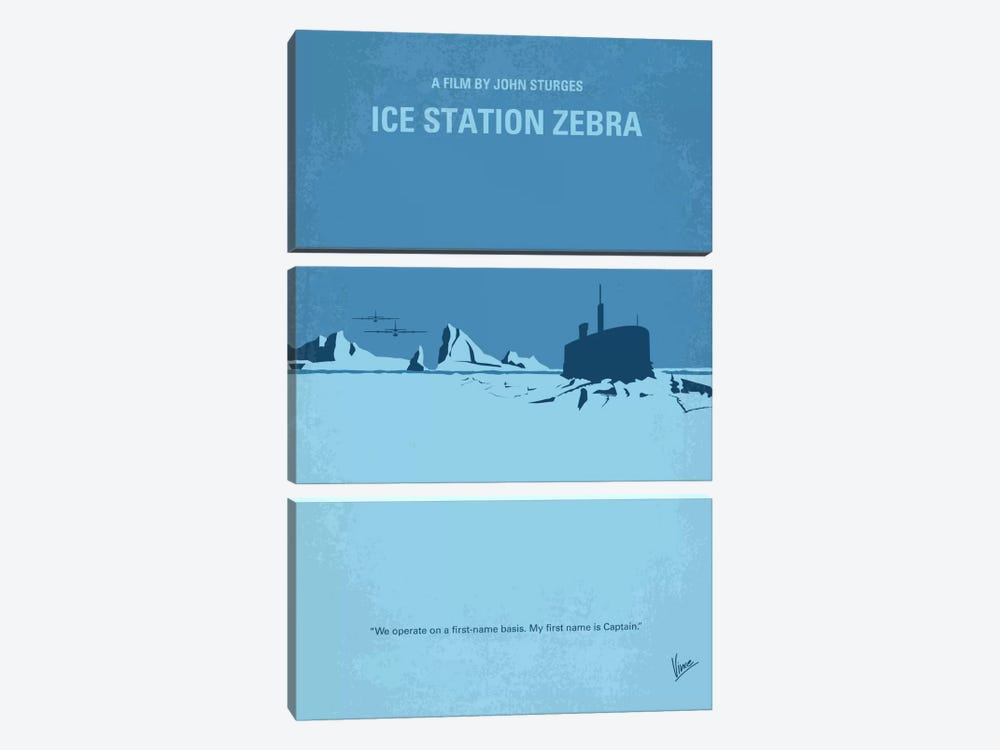 Ice Station Zebra Minimal Movie Poster by Chungkong 3-piece Canvas Wall Art