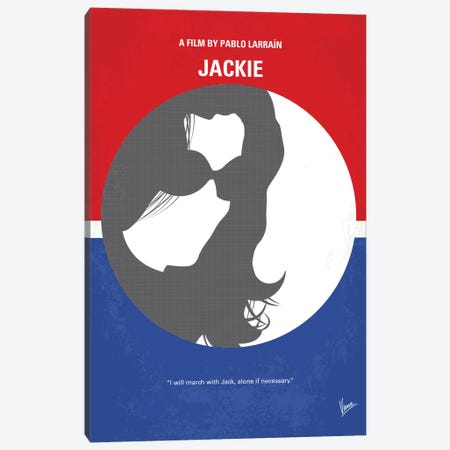 Jackie Minimal Movie Poster Canvas Print #CKG725} by Chungkong Art Print