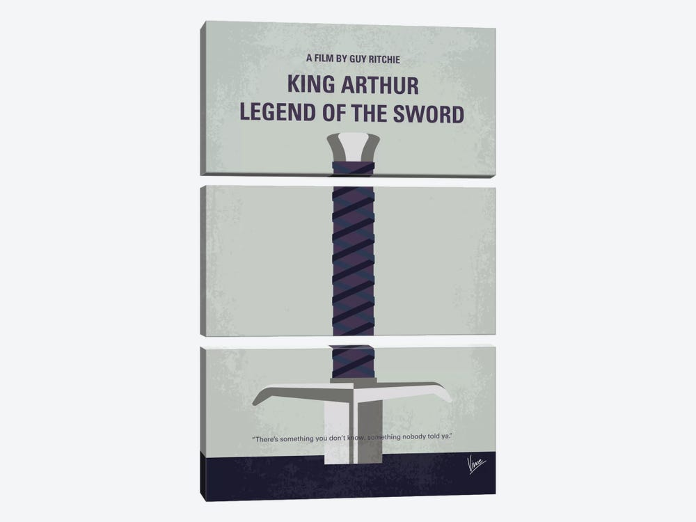 King Arthur: Legend Of The Sword Minimal Movie Poster by Chungkong 3-piece Canvas Art Print