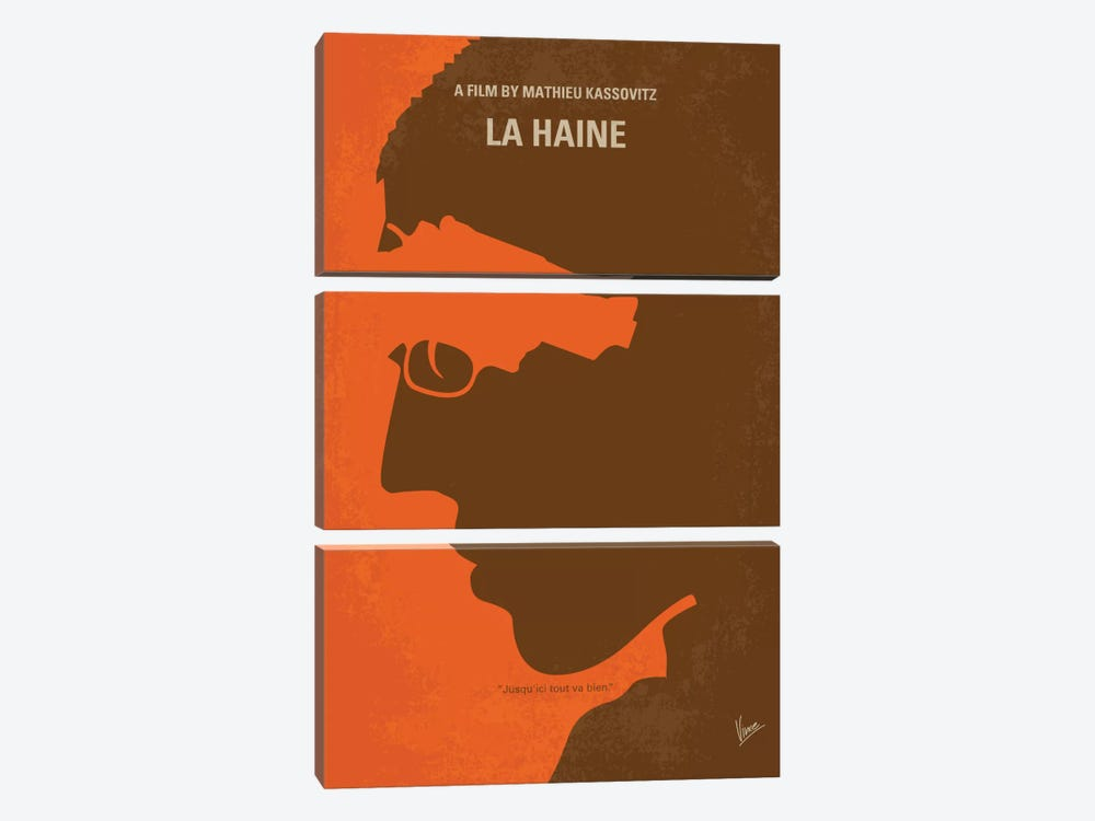 La Haine Minimal Movie Poster by Chungkong 3-piece Canvas Wall Art